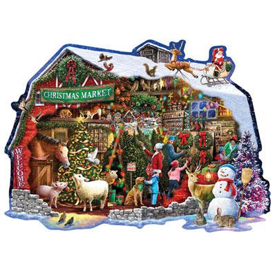 Christmas Barn 750 Piece Shaped Jigsaw Puzzle