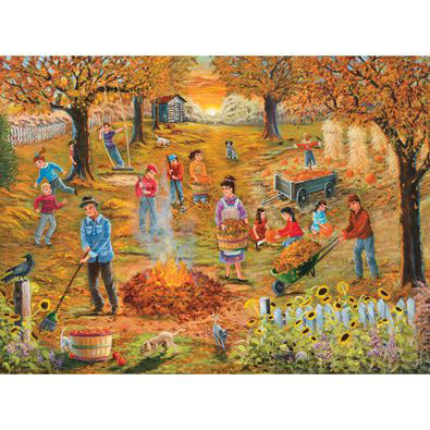 Neighborhood Autumn Cleanup 300 Large Piece Jigsaw Puzzle
