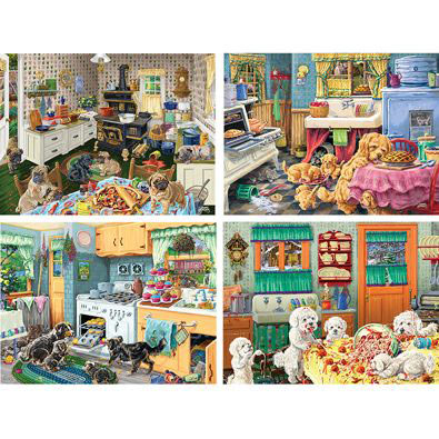 Set of 4: Dog Gone Good Fun 500 Piece Jigsaw Puzzles