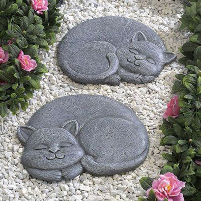 Set of 2: Sleeping Cat Stepping Stones