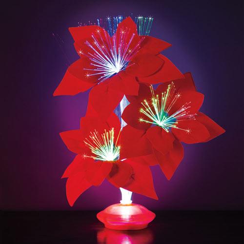Fiber Optic Poinsettia Light