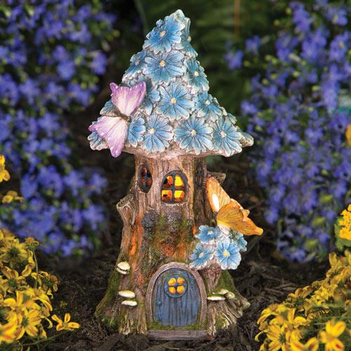 Solar LED Butterfly & Blue Daisies Fairy House
