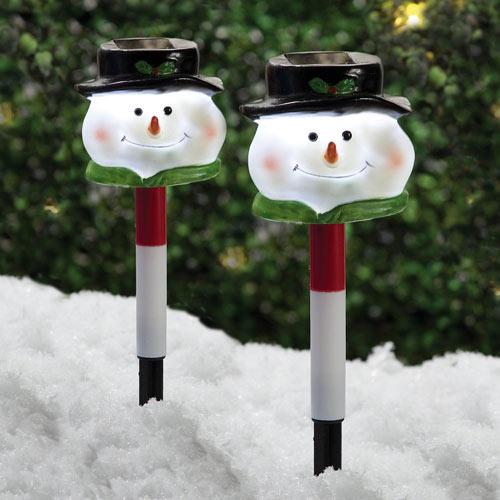 Set of 2: Solar Snowman Stakes