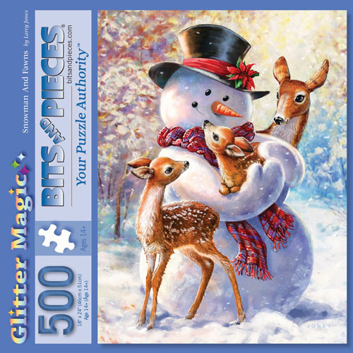 Snowman And Fawns 500 Piece Jigsaw Puzzle