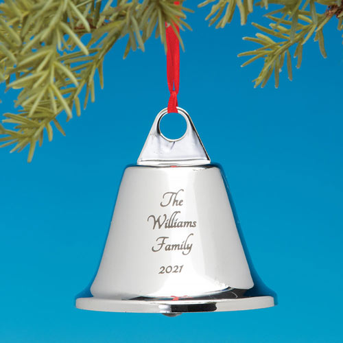 Engraved Silver Bell Ornament