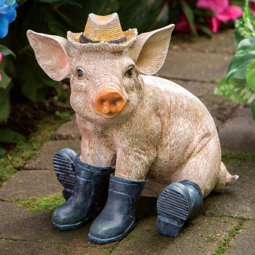 Pig In Boots Garden Sculpture
