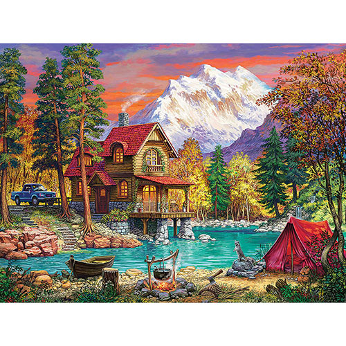 House In The Forest Sunset 500 Piece Jigsaw Puzzle