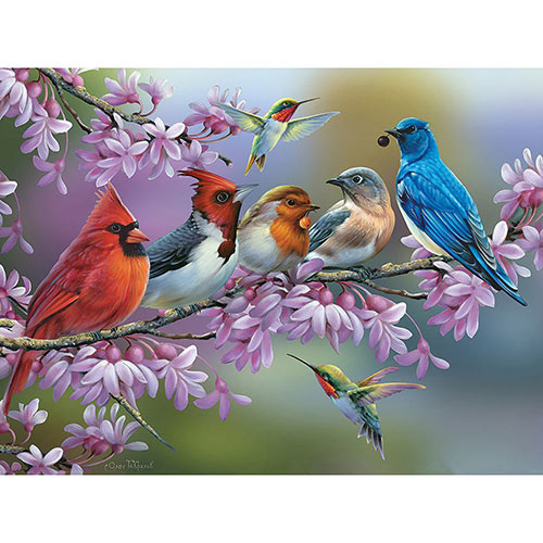 Birds On A Flowering Branch 300 Large Piece Jigsaw Puzzle