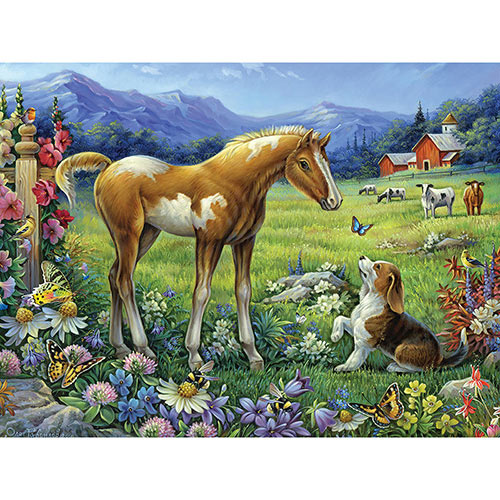Foal And Puppy 300 Large Piece Jigsaw Puzzle