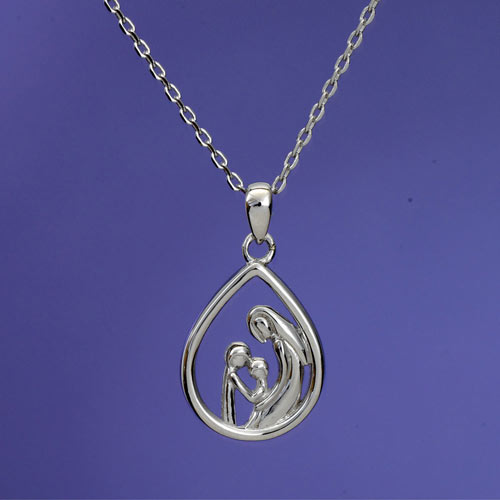 Mother & Two Children Sterling Pendant Necklace