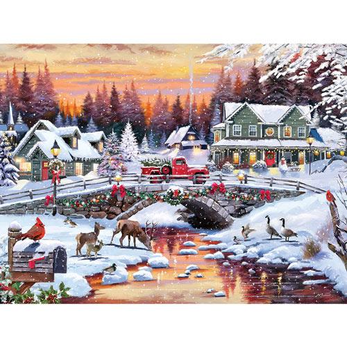 Snowy Bridge 300 Large Piece Jigsaw Puzzle