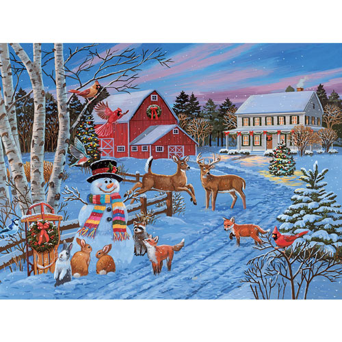Festive Evening On The Farm 300 Large Piece Jigsaw Puzzle