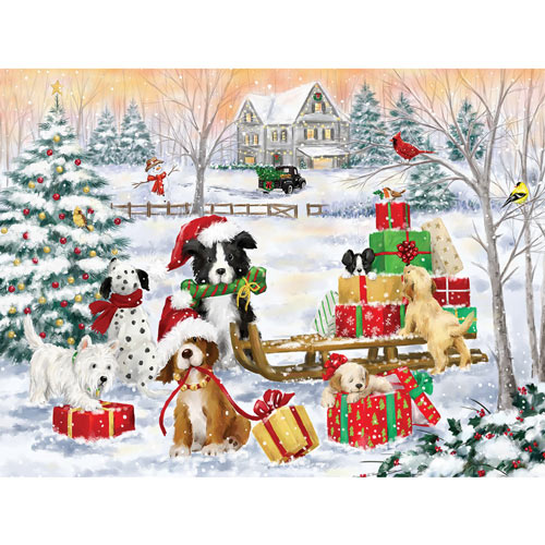 Dogs With Christmas Presents 300 Large Piece Jigsaw Puzzle