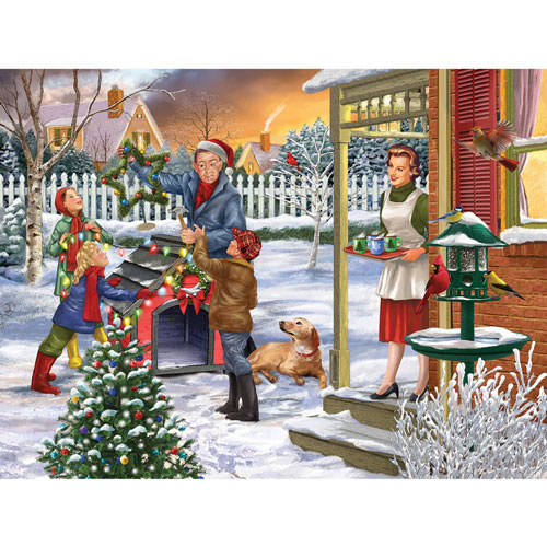 Decking The Dog House 300 Large Piece Jigsaw Puzzle