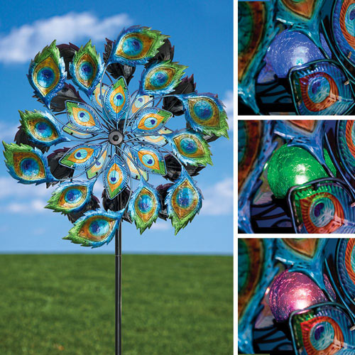 Peacock Solar LED Wind Spinner