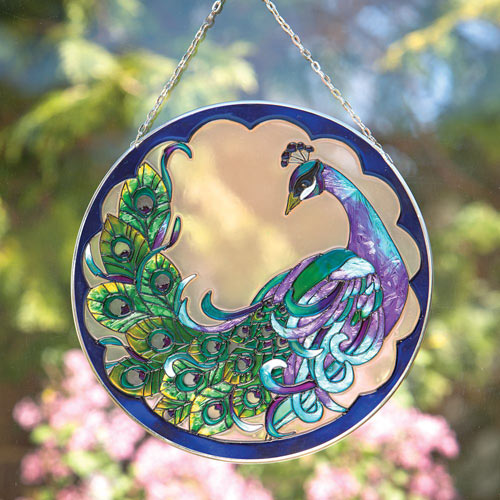 Peacock Art Glass Suncatcher