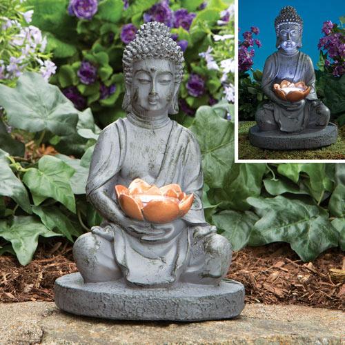 Solar Buddha LED Garden Sculpture
