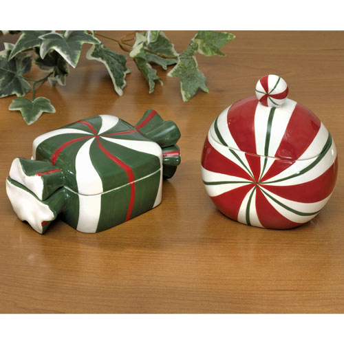 Set of 2: Candy and Peppermint Porcelain Trinket Boxes