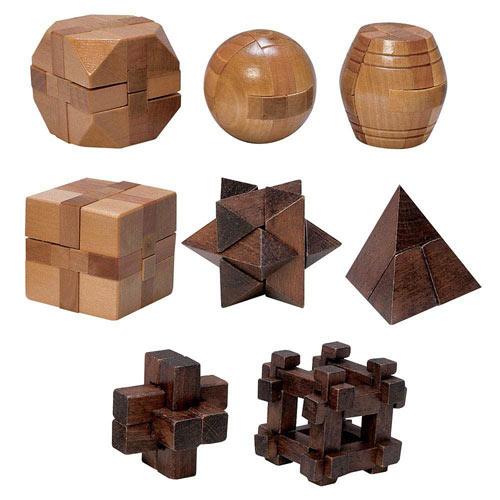 Set of 8: Classic Mini Wooden Brainteaser Sets