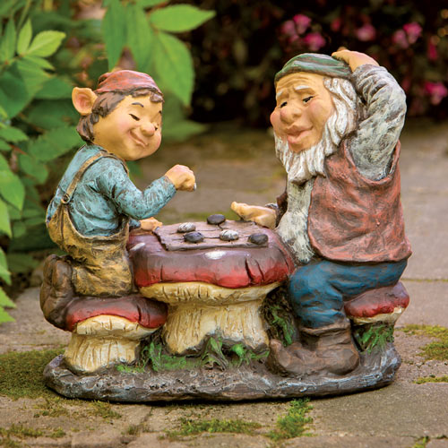 Gnomes Playing Checkers Garden Statue