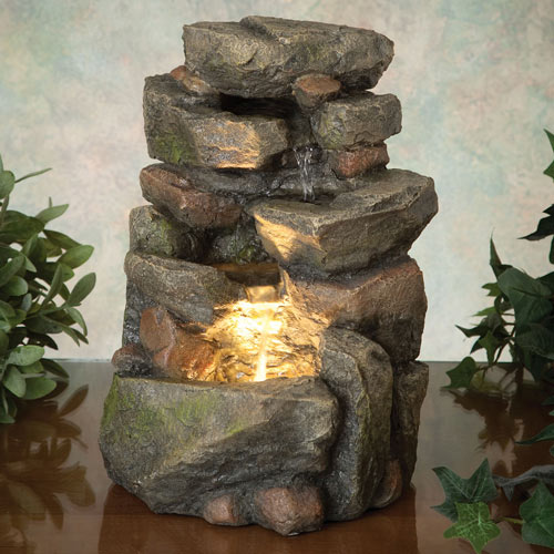 Tiered LED Rock Fountain