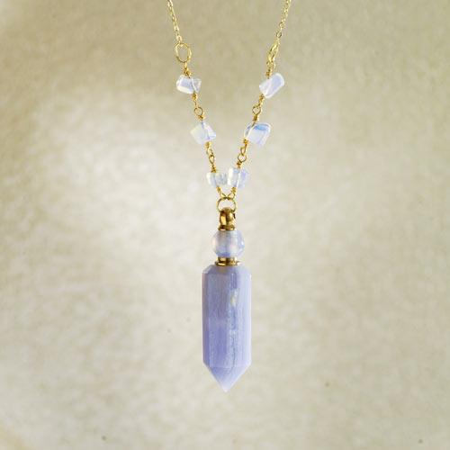 Perfume Bottle Pendant Necklace - Amazonite
