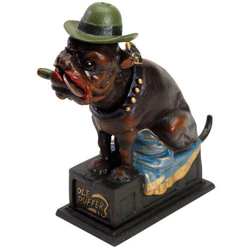 Cigar Smoking Bulldog Cast-Iron Mechanical Bank