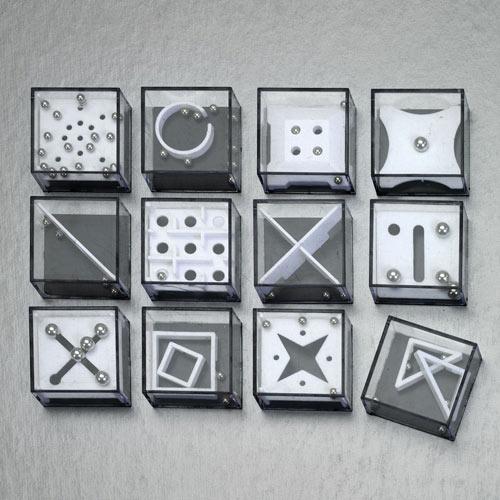 Set of 12: Metal Marble Maze Games