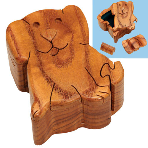 Wooden Dog Puzzle Box