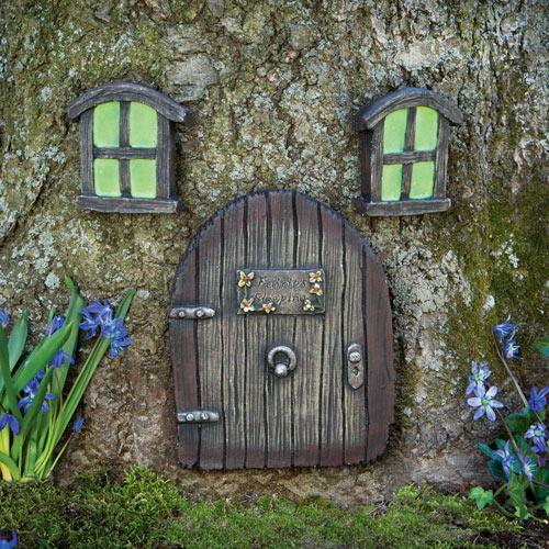 Fairy Door & Glow-in-the-Dark Windows Garden Sculpture Set