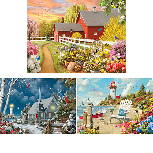 Set of 3: Alan Giana 300 Large Piece Jigsaw Puzzles
