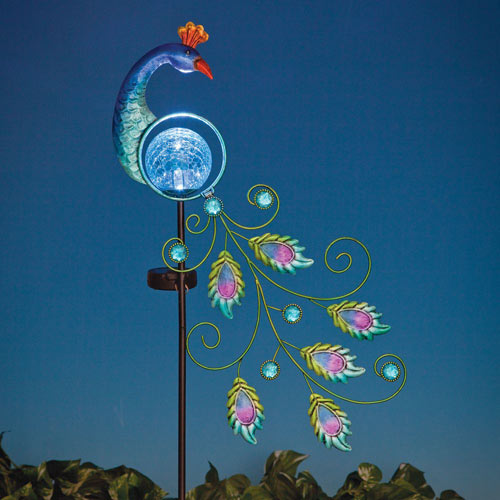 LED Peacock Solar Garden Stake