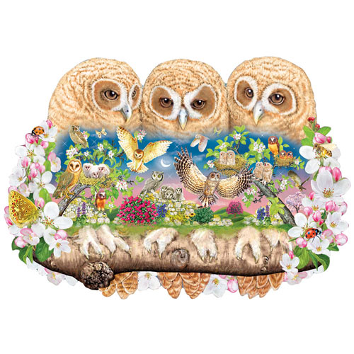 Owlets In the Moonlight 750 Piece Shaped Jigsaw Puzzle