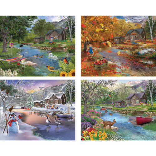 Set of 4: Bigelow Illustrations 500 Piece Jigsaw Puzzles