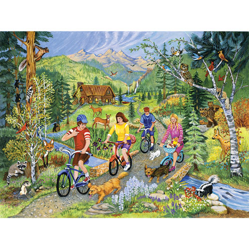 Bicycling In The Forest 300 Large Piece Jigsaw Puzzle