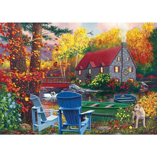 By The Lake In The Fall 500 Piece Jigsaw Puzzle