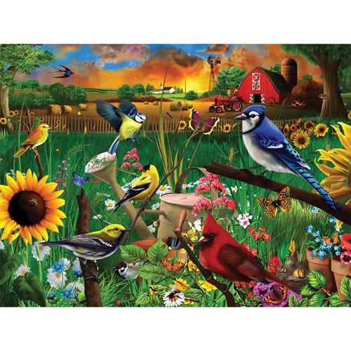 Sunflower Birds 300 Large Piece Jigsaw Puzzle