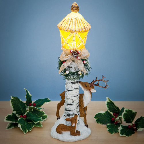 Winter Deer Lightpost Sculpture