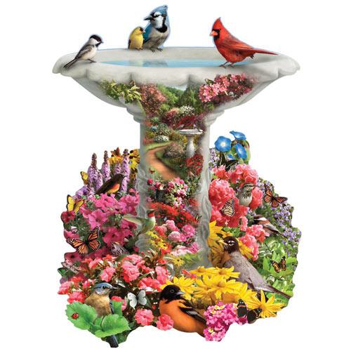 Birdbath Garden 750 Piece Shaped Jigsaw Puzzle