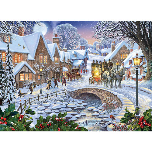 Winter Village Stream 1500 Piece Giant Jigsaw Puzzle
