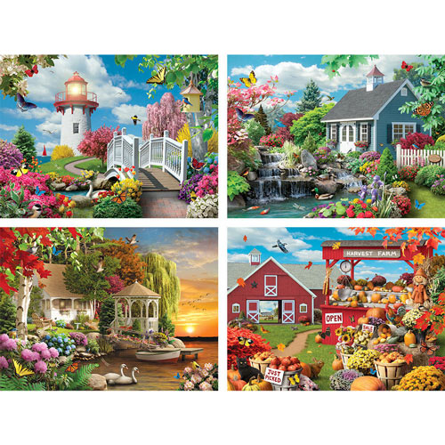Scenic Beauty 4-in-1 Multi-Pack 1000 Piece Jigsaw Puzzle Set
