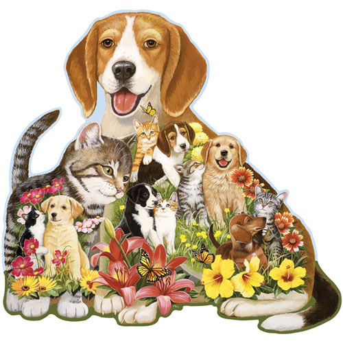 Cuddling Puppy And Kitten 750 Piece Shaped Jigsaw Puzzle