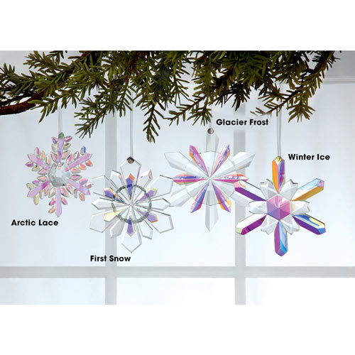 Faceted Crystal Snowflake Ornament - Glacier Frost