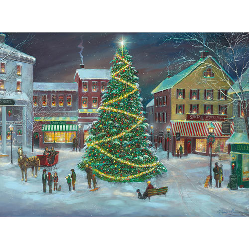 Village Christmas Tree 300 Large Piece Jigsaw Puzzle