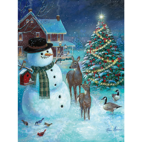 Snowman Greeting The Deer 300 Large Piece Jigsaw Puzzle
