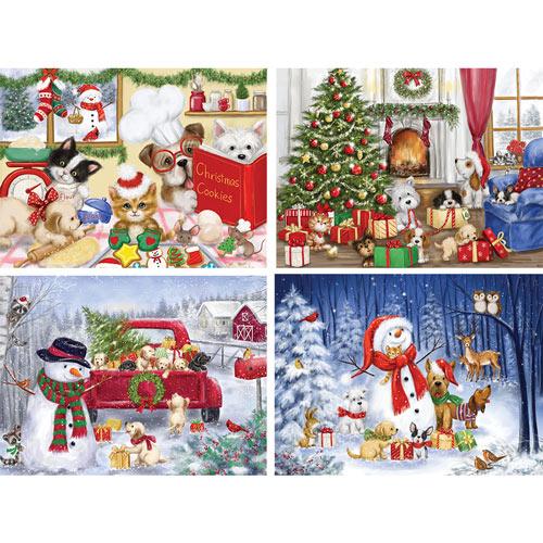 Set of 4: Makiko Holiday 300 Large Piece Jigsaw Puzzles
