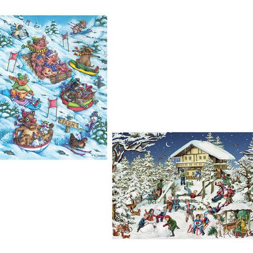 Set of 2: Winter 1000 Piece Jigsaw Puzzles