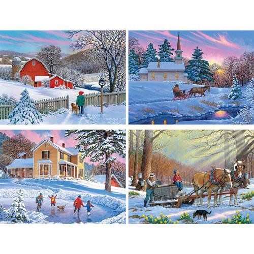 Set of 4: John Sloane Winter 1000 Piece Jigsaw Puzzles