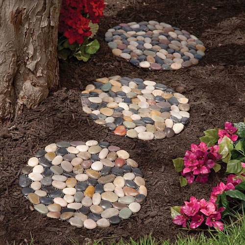 Round River Stone Stepping Stones  - Set of 3