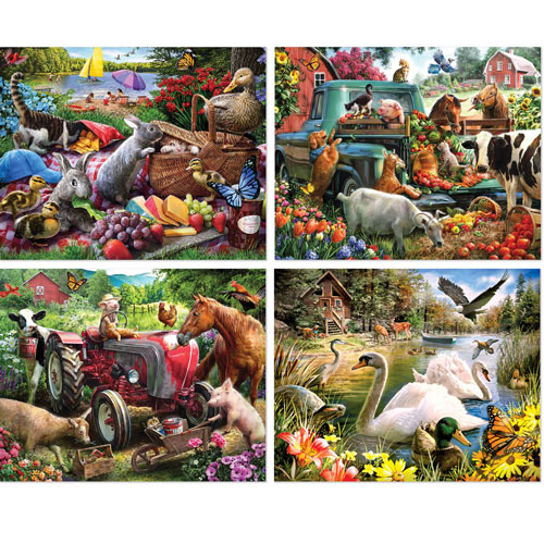 Country Fun 4-in-1 Multi-Pack 300 Large Piece Puzzle Set